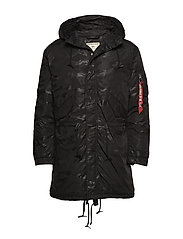 Hooded Fishtail CW Hidden Camo - BLACK