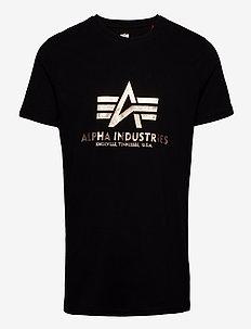Basic T-Shirt Foil Print - kortermede t-skjorter - black/gold