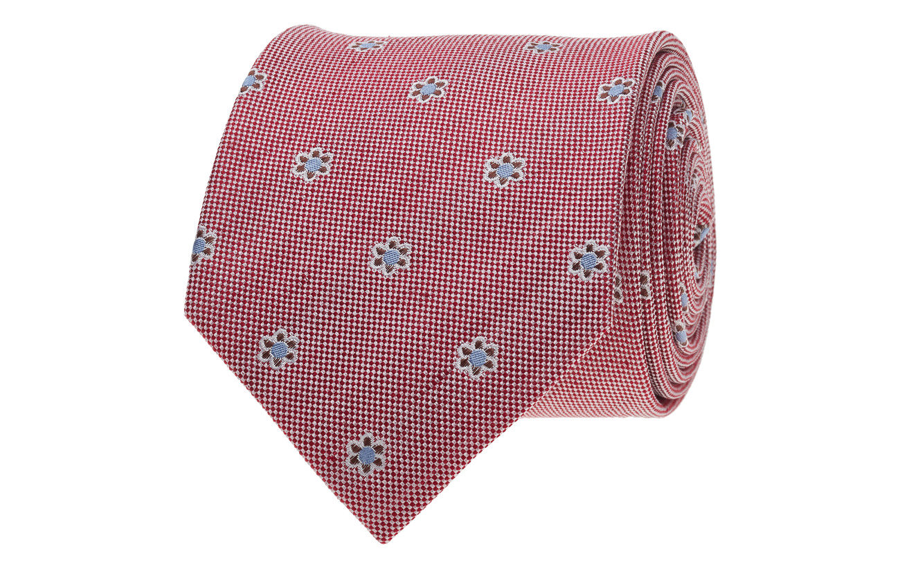 Amanda Christensen Jacquard Half Bottle Tie - RED