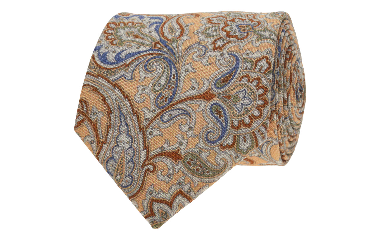 Amanda Christensen Printed Half Bottle Tie - PEACH