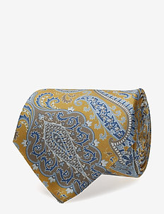 Printed Half Bottle Tie - YELLOW