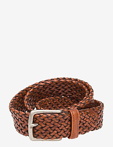 Belt - braided belts - cognac