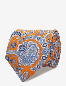 Printed Half Bottle Tie - ORANGE
