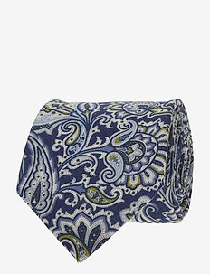 Printed Half Bottle Tie - NAVY