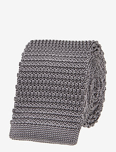 Knitted Silk Tie - krawatten - grey