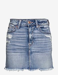 AE High-Waisted Denim Mini Skirt - denimnederdele - medium destroy