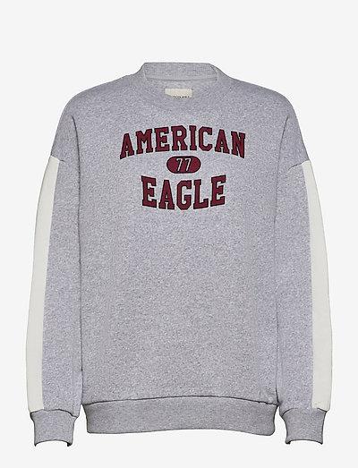 AE Fleece Graphic Crew Neck Sweatshirt - sweatshirts - heather gray