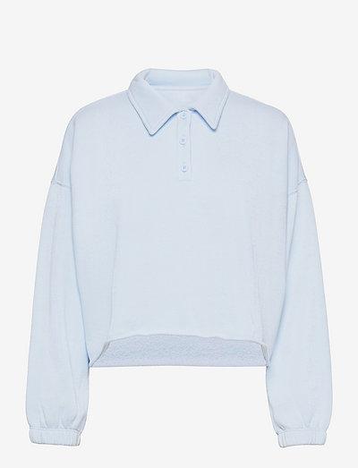 Aerie Fleece-Of-Mind Cropped Polo Sweatshirt - sweatshirts - eyelet blue