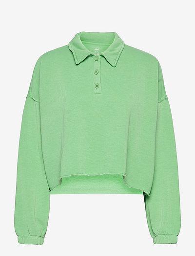 Aerie Fleece-Of-Mind Cropped Polo Sweatshirt - sweatshirts - midday mint