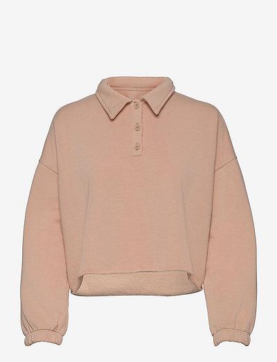 Aerie Fleece-Of-Mind Cropped Polo Sweatshirt - sweatshirts - natural nude