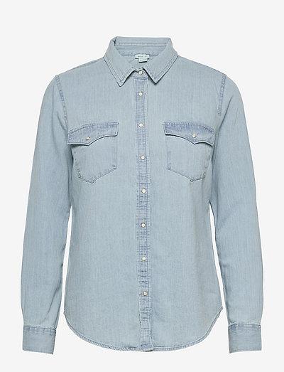 Aerie Long Sleeve Western Buttondown Shirt - langermede skjorter - light wash
