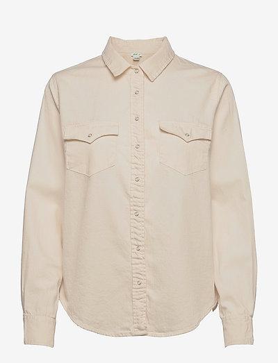 Aerie Long Sleeve Western Buttondown Shirt - langermede skjorter - natural