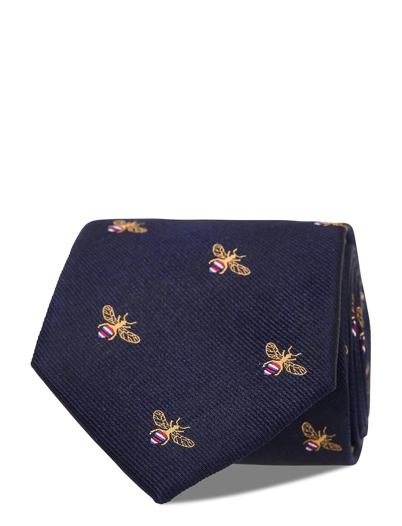 Navy Bee Silk Tie Slips Blå An Ivy
