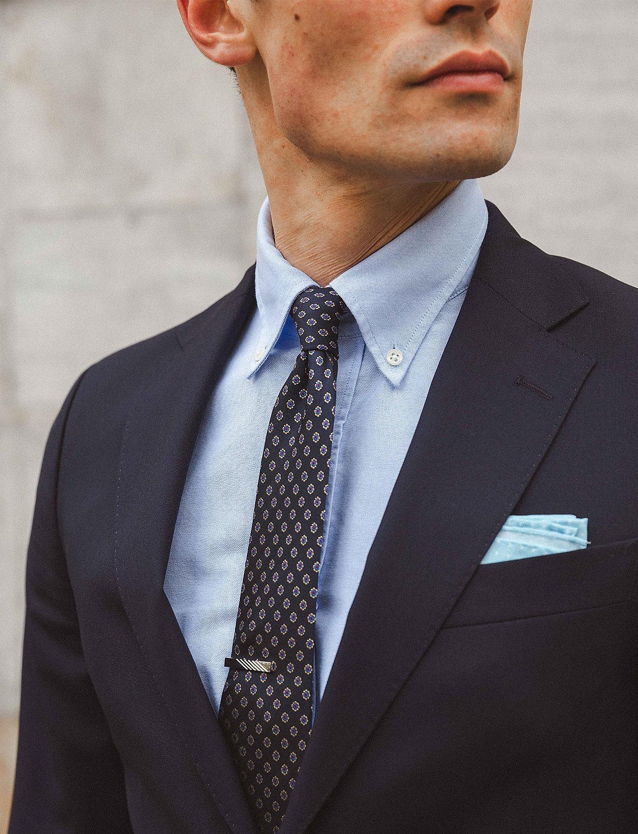 An Ivy - Navy Woven Flower Silk Tie - cravates - navy/gold/red - 0