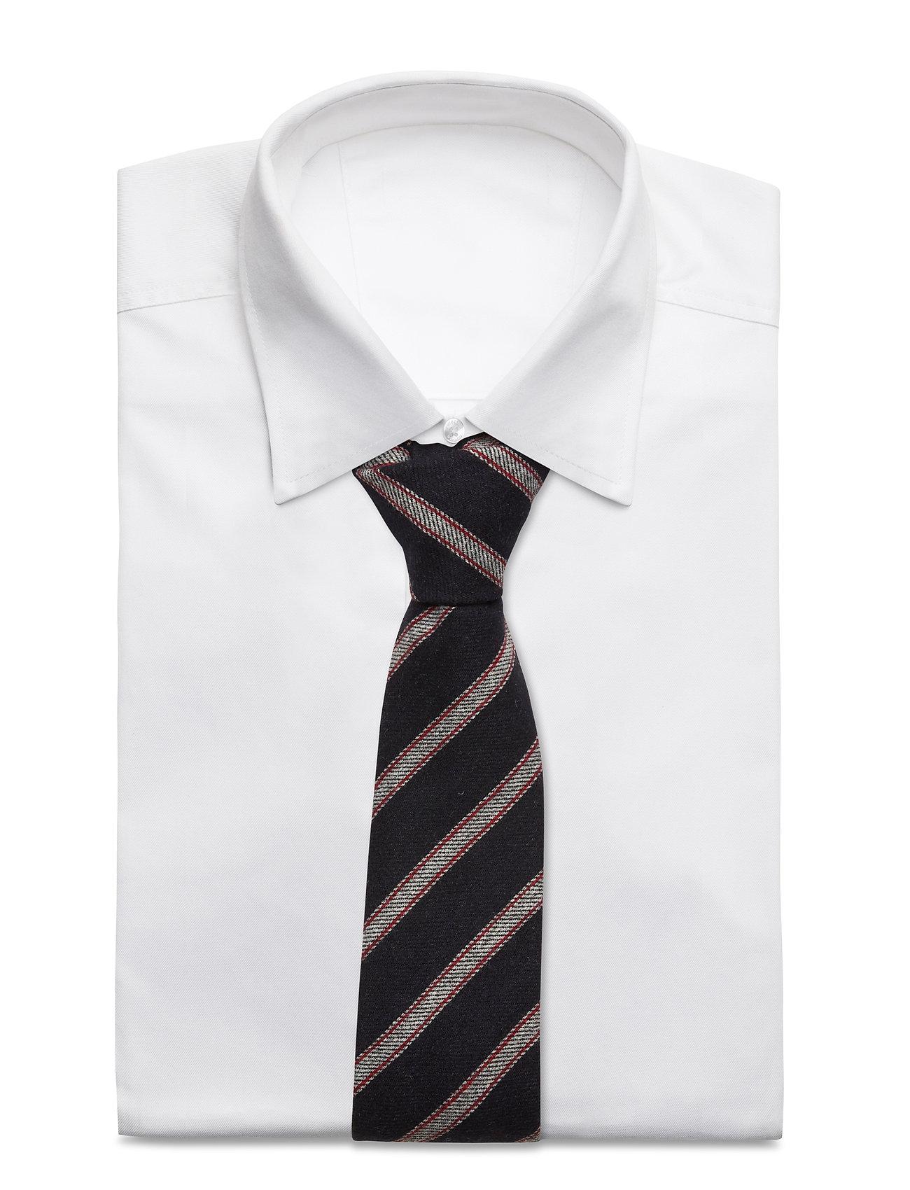 An Ivy - Navy Grey Striped Wool Tie - cravates - navy/grey/red - 1