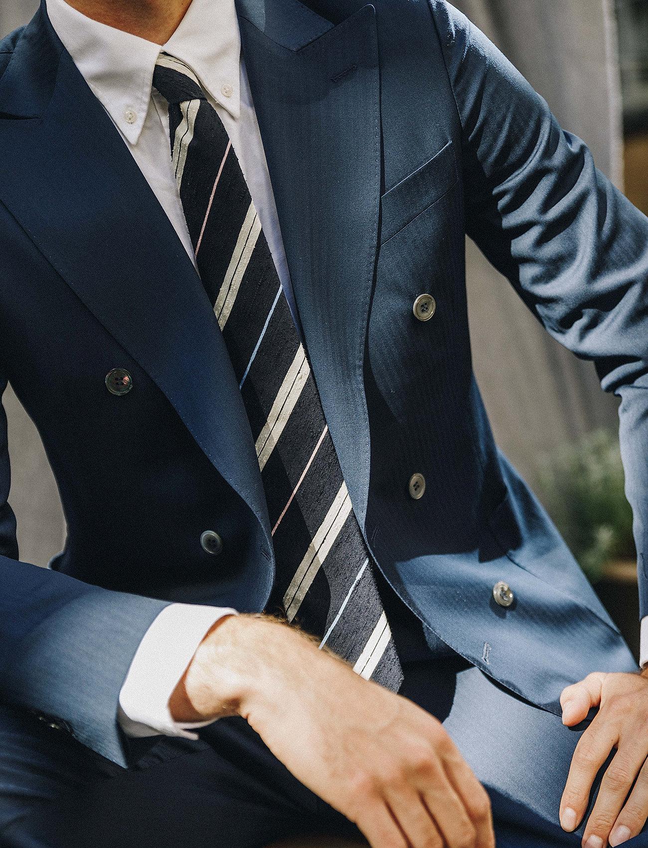 An Ivy - Navy White Blue Pink Shantung Tie - cravates - navy/white/blue/pink - 0