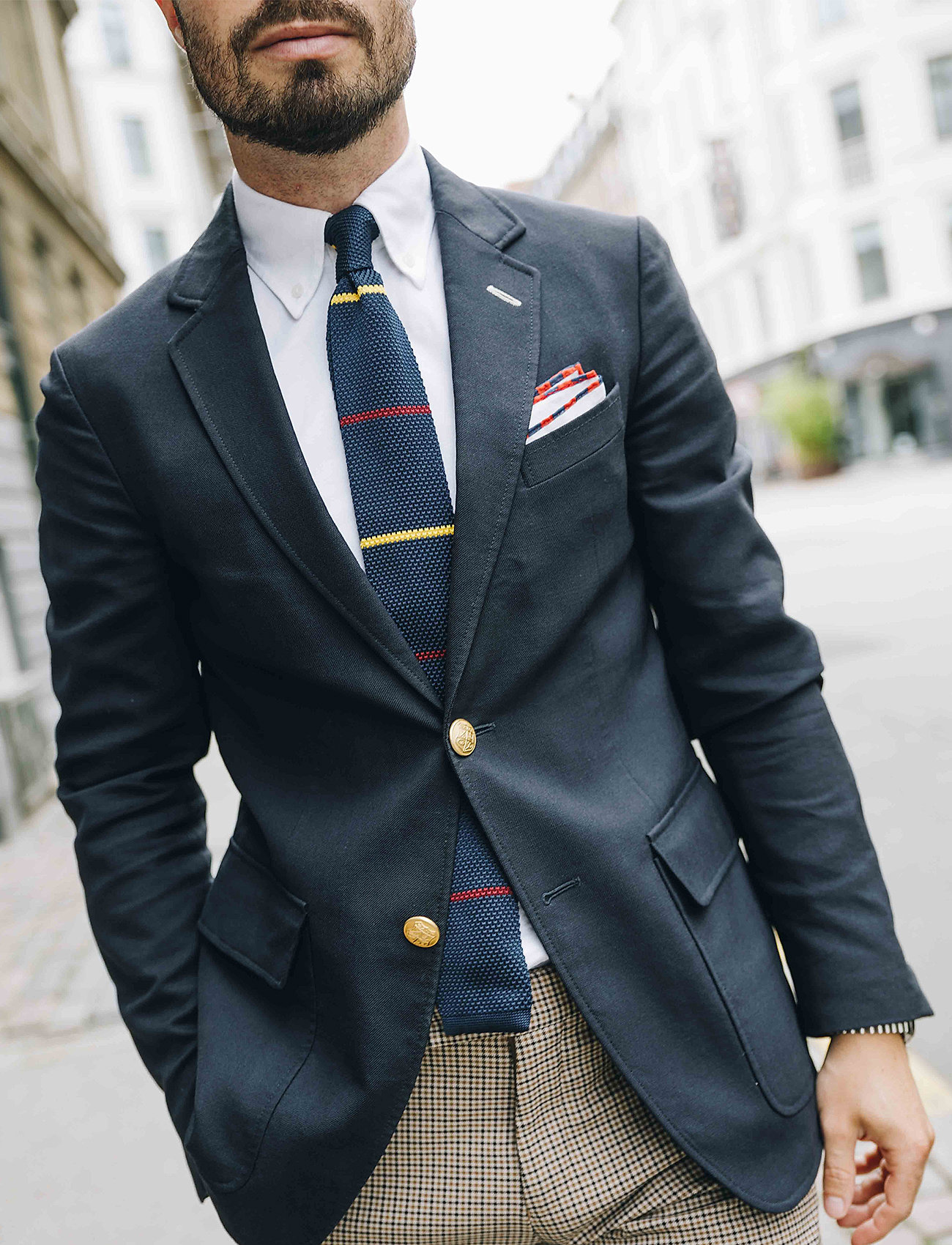 An Ivy - Navy Yellow Burgundy Classic Knit - cravates - navy/yellow/burgundy - 0