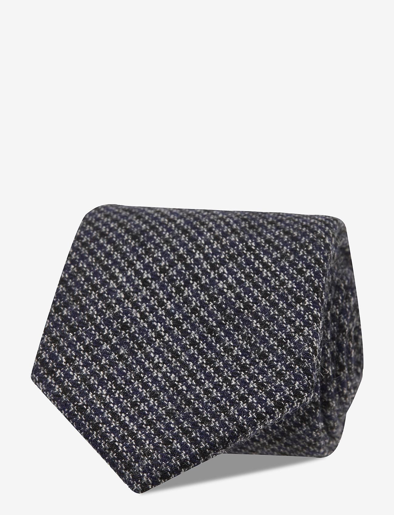 An Ivy - Black Blue Houndstooth Wool Tie - cravates - grey - 1