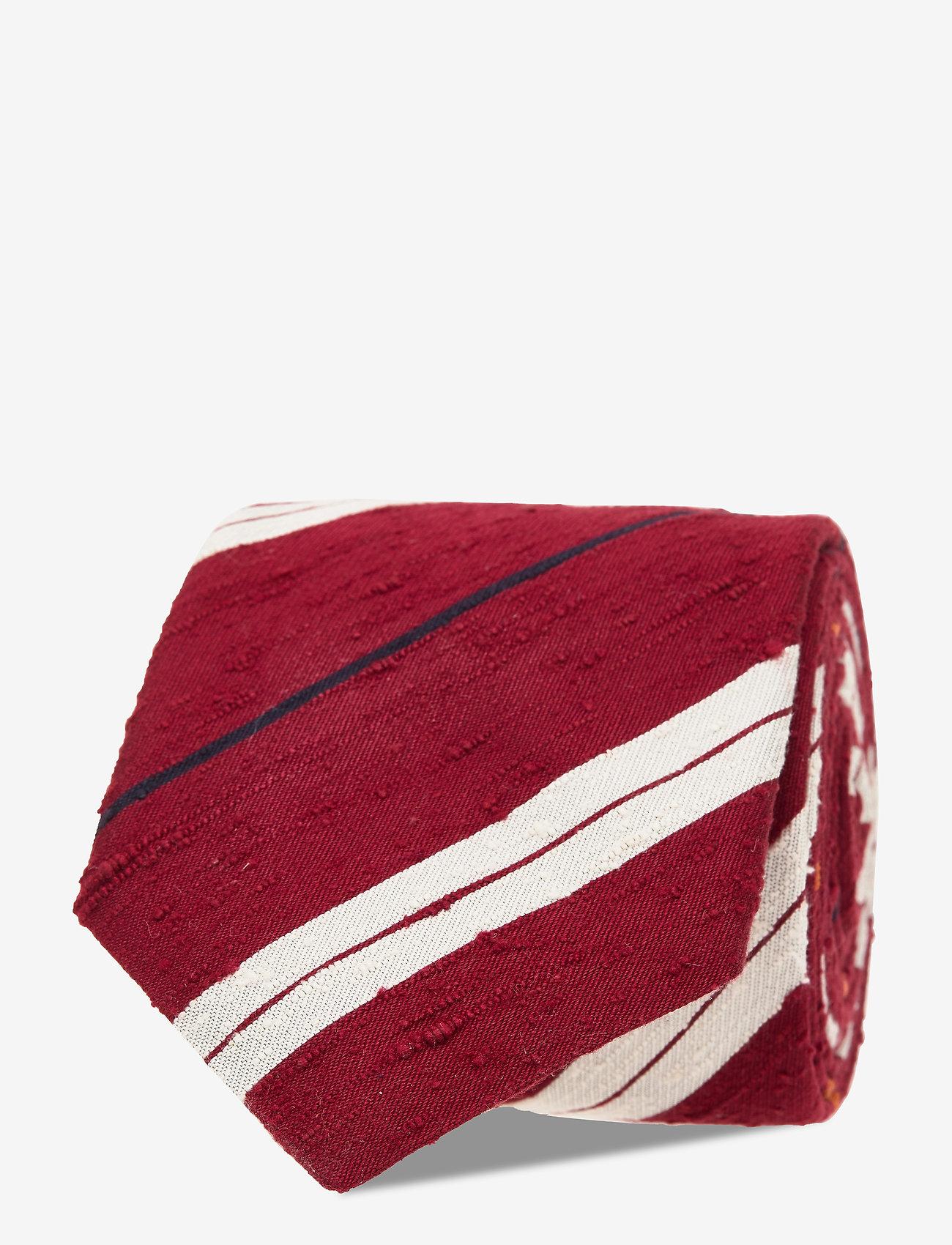 An Ivy - Red White Navy Orange Shantung Tie - cravates - red/white/navy - 1