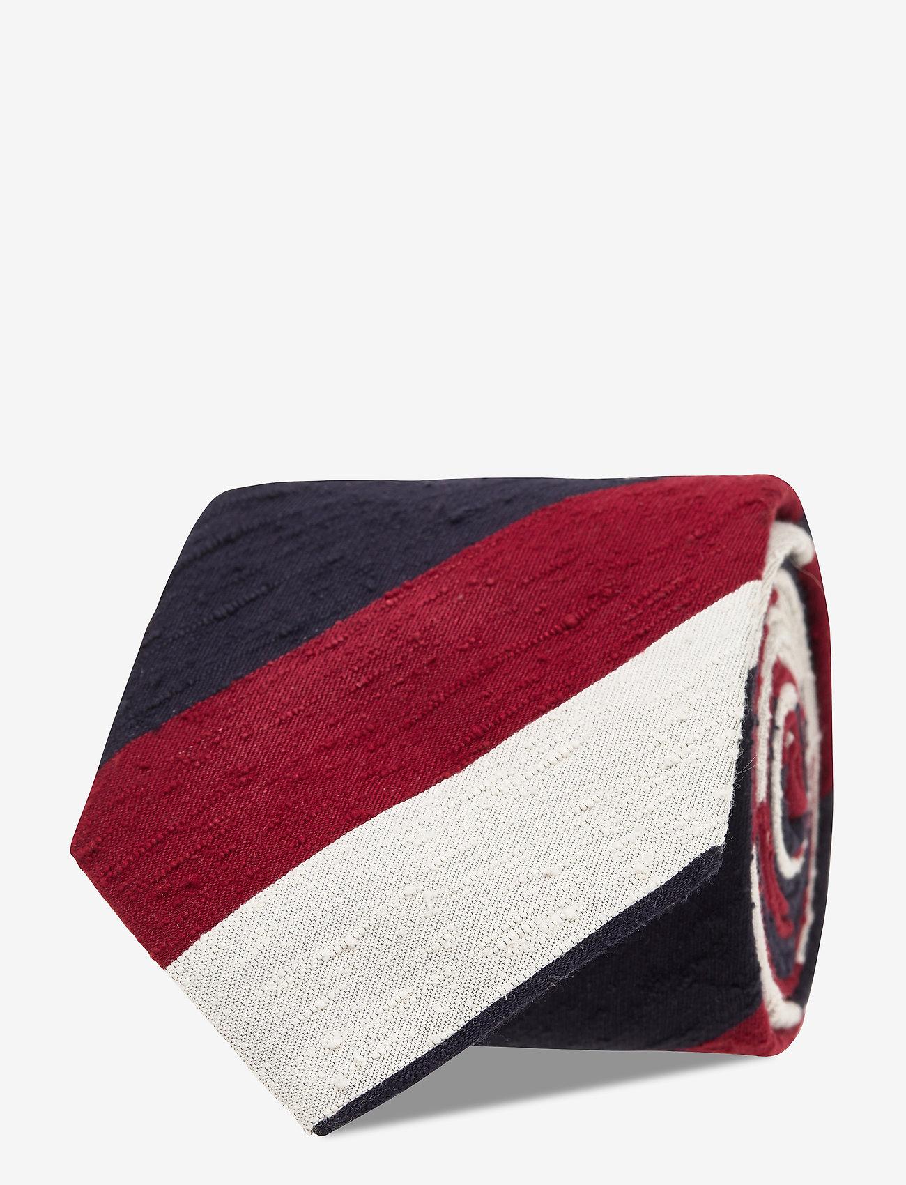 An Ivy - Navy Red White Block Shantung Tie - cravates - navy/red/white - 1