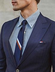 An Ivy - Navy Signature Flag Silk Tie - cravates - navy/white/brown - 0