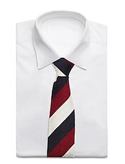An Ivy - Navy Red White Block Shantung Tie - cravates - navy/red/white - 2