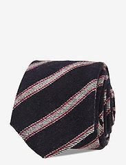 An Ivy - Navy Grey Striped Wool Tie - cravates - navy/grey/red - 0