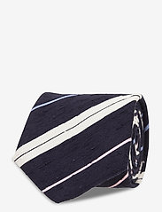 An Ivy - Navy White Blue Pink Shantung Tie - cravates - navy/white/blue/pink - 1