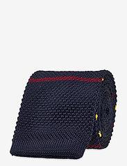 An Ivy - Navy Yellow Burgundy Classic Knit - cravates - navy/yellow/burgundy - 1