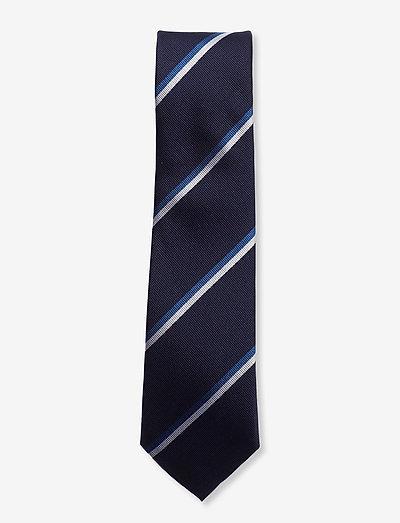 Navy Blue White Cornell Silk Tie - slips - navy/blue/white