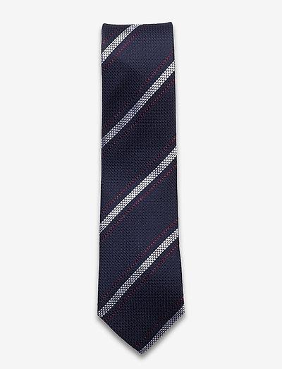 Textured Navy White Red Silk Tie - slips - navy/white/red