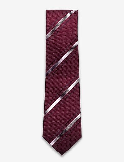 Textured Burgundy Navy White Silk Tie - slips - burgundy/white/navy