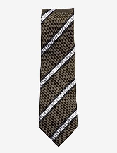 Olive Green Striped Woven Silk Tie - slips - green