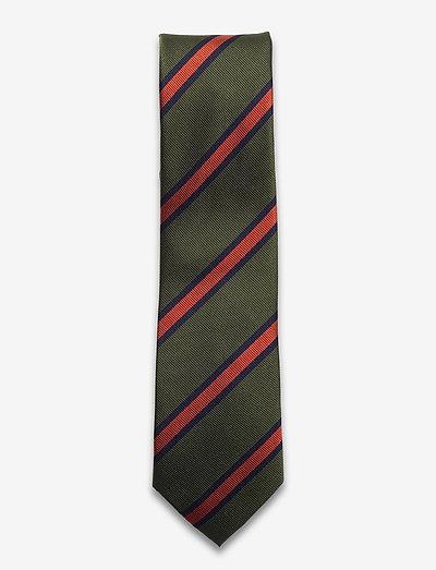 Green Navy Orange Striped Silk Tie - slips - green/navy/orange