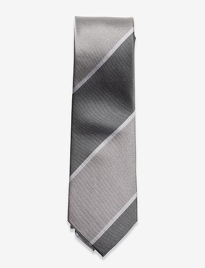 The Grey White Campus Silk Tie - slips - grey/white