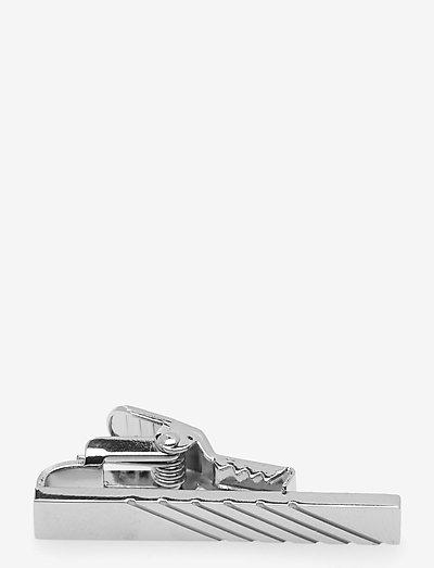 White Striped Bar 3,5 cm - slipsenåler - silver