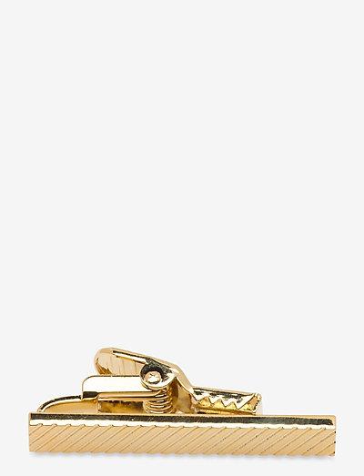 Monochrome Striped Golden Bar 3,5 cm - slipsenåler - golden