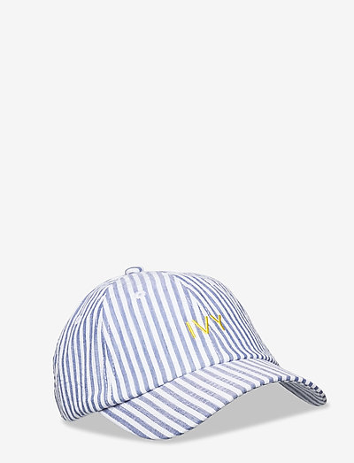 Grey Seersucker Ivy Cap - kasketter - white/grey