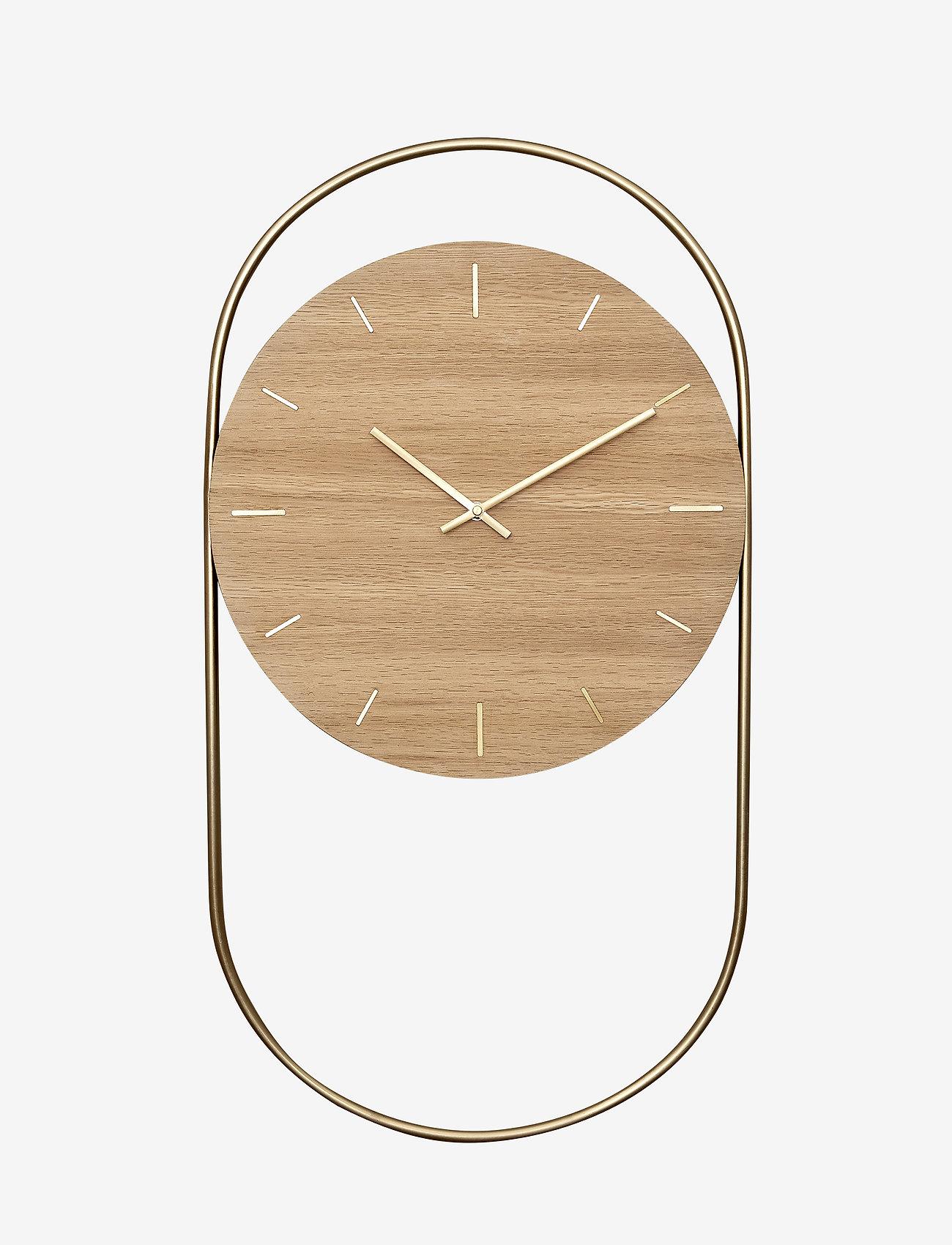 Andersen Furniture - A-Wall Clock Oak with brass ring - veggklokker - no color - 0