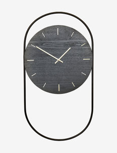A-Wall Clock Black with black metal ring - vægure - black