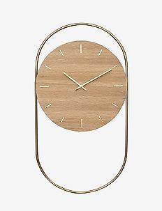 A-Wall Clock Oak with brass ring - veggklokker - no color