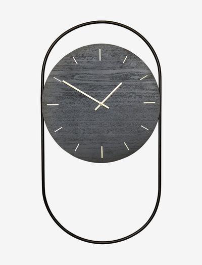 A-Wall Clock Black with black metal ring - veggklokker - black