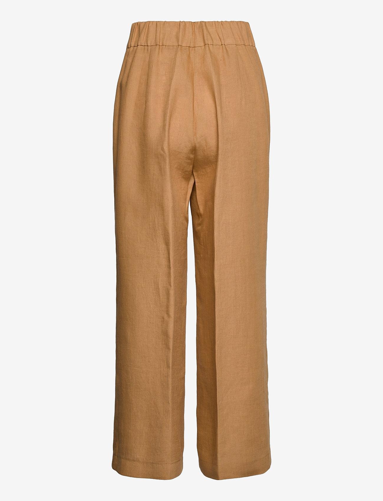 Andiata - Kamille Linen Trousers - pantalons droits - sundried oak brown - 1