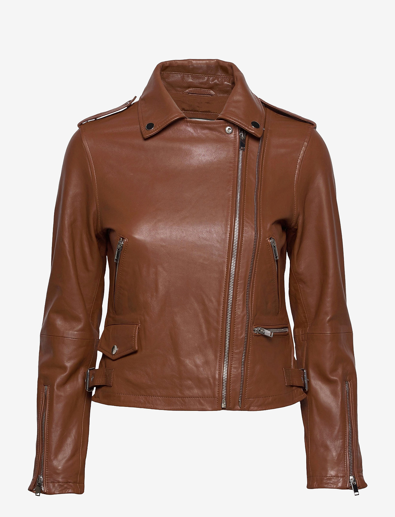 Andiata - Josita Leather Jacket - skinnjackor - cinnamon brown - 1