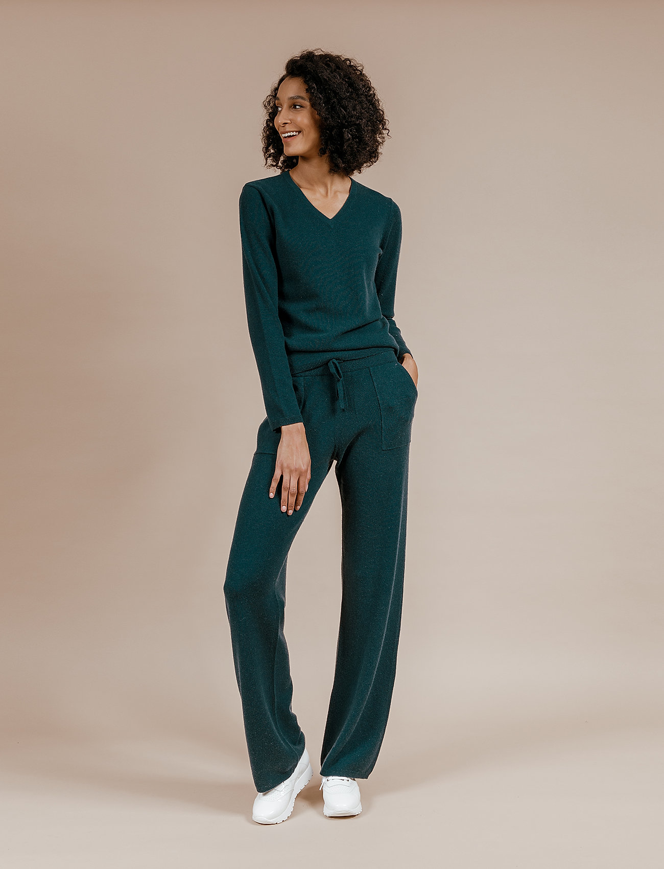 Andiata - Christie knit joggers - sweatpants - teal green - 0