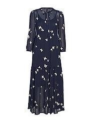 DEMELZA PRINTED DRESS - NAVY BLUE