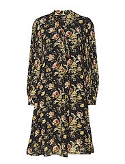 Sebella V Dress - SOFT BLACK FLOWER