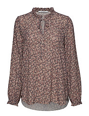 Andiata DONELLA PRINT BLOUSE - LIGHT GREY FLOWER