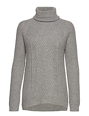 HOLLIE HIGH NECK CHUNKY KNIT - LIGHT GREY