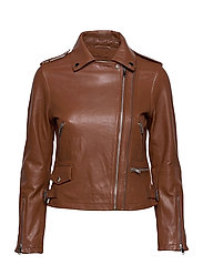 Josita Leather Jacket - CINNAMON BROWN
